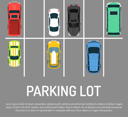 City car parking vector illustration. Top view of parking zone with a variety of cars. Parking garage with free places in flat style banner, poster. Parking lots for vehicles. Well mannered drivers.