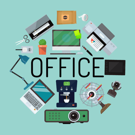 Office concept banner, poster vector illustration. Gadgets and tools for office work. Desktop computer, laptop, tablet, printer, coffee machine, lamp, projector, scanner fan web cam cactus