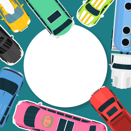Car rent or buying vector illustration. Choosing the best car for transportation banner, poster, brochure. Advertisement of ordering and selling car. Different vehicles for rent. Truck, sports car.
