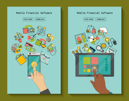 Mobile financial software for phone and tablet vector illustration. Risk management. Corporate finance. Corporate valuation. Fianncial modelling. Stock exchange. Cash flow. Hand touching screen. Illustration