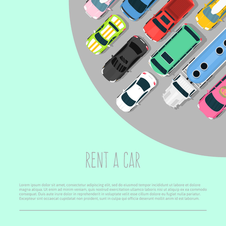Car rent vector illustration. Choosing the best car for transportation banner, poster, brochure, flyer. Advertisement of ordering car. Different vehicles for rent. Truck, sports car, pickup. Çizim