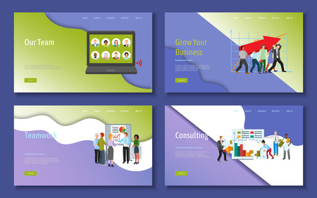 Teamwork and cooperation for business. Cartoon people characters vector illustration with smiling colleagues putting puzzle pieces, solving problem, growing business. Concept of team building banner.