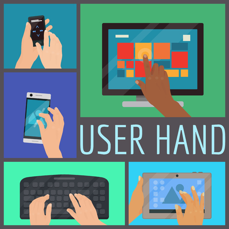 User hand seamless pattern vector illustration. Human hands holding various smart devices such as computer, laptop, phone, music player, keyboard, tablet. Finger touching screen and buttons.
