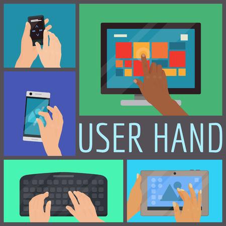Illustration vectorielle de l'utilisateur main transparente motif. Mains humaines tenant divers appareils intelligents tels qu'un ordinateur, un ordinateur portable, un téléphone, un lecteur de musique, un clavier, une tablette. Écran tactile et boutons.