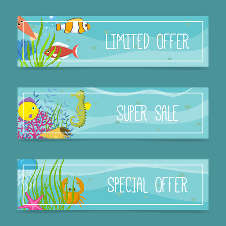 Sea life set of banners for shops. Limited offer. Super sale. Special offer. Cartoon underwater elements, seaweed and moss, jellyfish, sea horse and zebrafish, crab, squid. Stock Illustratie