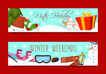 Winter holidays and weekends set of banners vector illustration. Nature landscape with Christmas tree snowmen sledge snowboard, hat scarf earmuffsear socks, mittens. Happy New Year greetings. Ilustracja