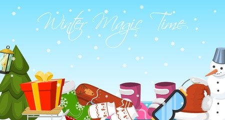 Winter magic time banner vector illustration. Nature landscape with Christmas tree, snowmen, sledge snowboard hat scarf earmuffsear. Happy New Year greetings. Winter holidays and weekends. Ilustracja