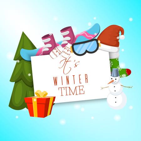 It s winter time banner vector illustration. Nature landscape with Christmas tree, snowmen sledge snowboard, hat scarf earmuffsear. Happy New Year greetings. Winter holidays and weekends.