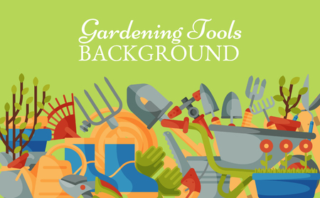 Garden tools background banner vector illustration. Equipment for gardening. Wheelbarrow, trowel, fork hoe, boots, gloves, shovels and spades, lawn mower, watering can. Plants such as flower and tree. Illustration