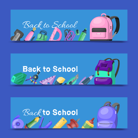 Back to school set of banners. Kids school backpack with education equipment vector illustration. School supplies, colorful office accessories. Pen, pencil, paints, stationary, eraser, ruler.