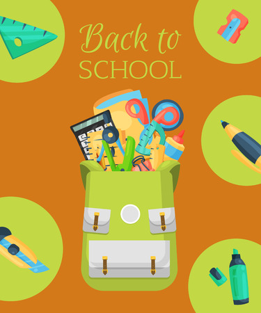 Back to school poster, banner. Kids school backpack with education equipment vector illustration. School supplies, colorful office accessories. Calculator, stationary, glue, ruler. Ilustração