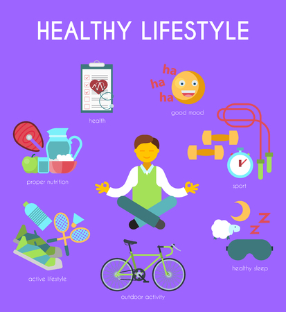 Healthy lifestyle concept vector illustration. Happy man meditating in yoga position banner. Good mood, sport equipment, healthy sleep, outdoor activity, active lifestyle, proper nutrition.