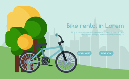 City bicycle hire rental tours for tourists and city visitors poster, banner vector illstration. Bike standing near trees in park on city background. Easy and quick transportation. Website design.