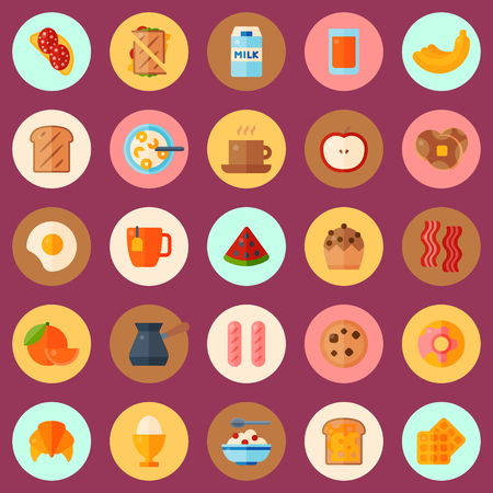 Breakfast concept seamless pattern vector illustration. Cartoon food icons of pastry, fruit, drinks. Egg, bacon, sausage, sandwich, coffee, tea, cupcake, toast with cheese. Illustration