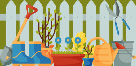 Garden fence with tools banner vector illustration. Gardening equipment such as trowel, fork hoe, boots, gloves shovel and spade watering can secateurs. Tree seedlings, flowers. Plants.
