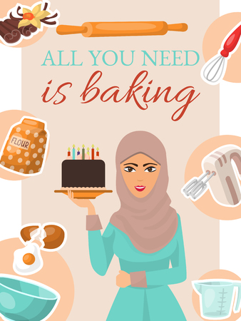 Baking concept poster, banner. Woman holding birthday cake with candles. Kitchen utensils and ingredients for baking. All you need is baking. Flour, egg, vanilla, bowl, mixer, rolling pin.
