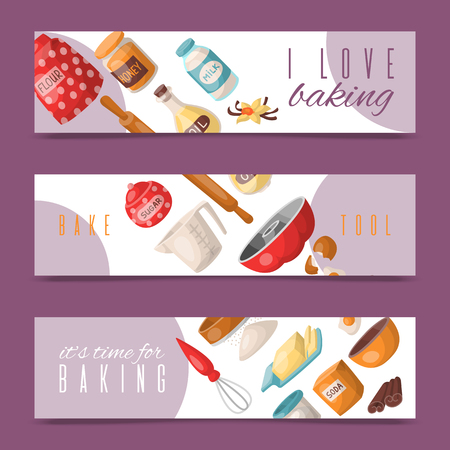 Baking tools set of banners vector illustration. I love baking. It s time for baking. Kitchen utensils. Baking ingredients sugar, vanilla, flour, oil, butter, baking soda, eggs.  イラスト・ベクター素材