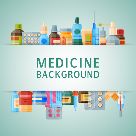 Medicine background banner vector illustration. Medicine, pharmacy, hospital set of drugs with labels. Medication, pharmaceutics concept. Different medical pills and bottles.