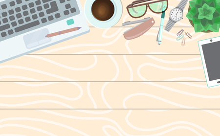 Office table concept banner vector illustration. Top view of modern and stylish workplace. Wooden table, office supplies keyboard tablet wristwatch glasses pen pencil, plant, cup of coffee.