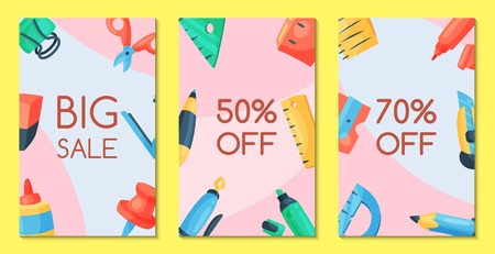 Stationery sale set of banners vector illustration. Discounts on school and office supplies. Shopping or buying tools such as pen, pencil, glue, ruler, scissors, marker, notebook, eraser, push pin.