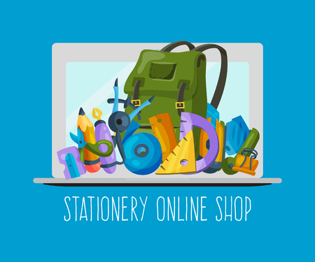 Stationery online shop banner vecror illustration. Equipment for education or office work. Buying supplies on Internet. Backpack with education equipment as pen, pencil, ruler, eraser, scissors. Ilustração