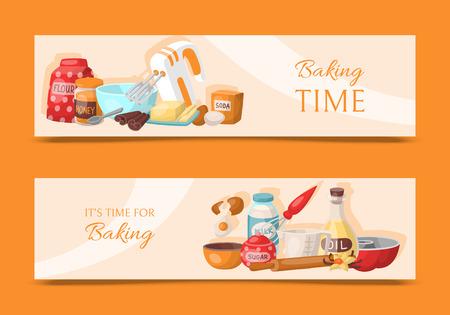 Backzeit-Set von horizontalen Bannern. Küchenutensilien. Backzutaten setzen Zucker, Vanillestift, Mehl, Öl, Butter, Backpulver, Backpulver, Honigeier Kochvektorillustration