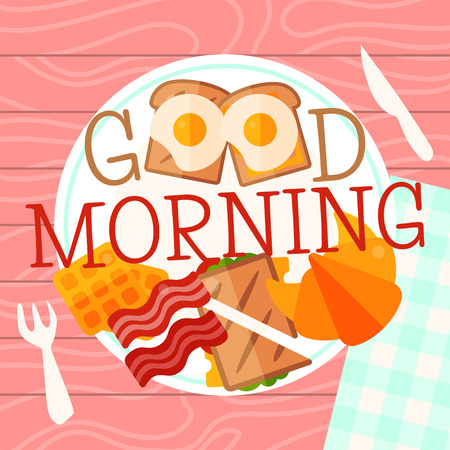 Breakfast plate concept banner vector illustration. Hearty breakfast of fried eggs and bacon with fsandwich, croissant and waffles. Eating on a plate is a top view. Served breakfast. Good morning. Illustration