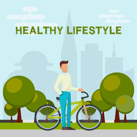 Healthy lifestyle concept banner vector illustration. Man standing near bicycle in park on city background. Green trees in the middle of town. Sport exercises are good for health. High-rise building. Ilustração