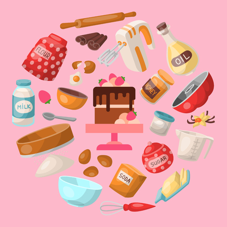 Baking cartoon tools and food seamless pattern. Kitchen utensils. Baking ingredients sugar, vanilla, flour, oil, butter, baking soda, chocolate cake with strawberry, eggs. Cooking vector illustration Illustration