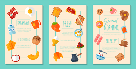 Fresh breakfast concept set of posters or banners vector illustration. Healthy start day. Eating in the morning. Fruit breakfast. Toast and egg. Coffee, porridge, fruits, milk.