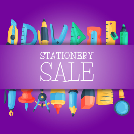 Stationery sale pattern vector illustration. Discounts on school and office supplies. Shopping or buying tools such as pen, pencil, glue, ruler, sharpener, marker, notebook, eraser, push pin.