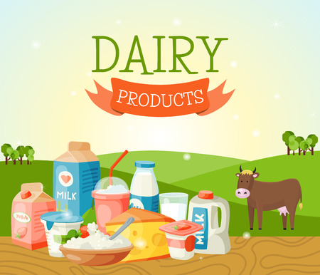 Fresh dairy products banner, poster vector illustration. Organic, quality food. Great taste and nutritional value. Milk, cheese yogurt cottage cheese sour cream, butter. artoon cow on lown.