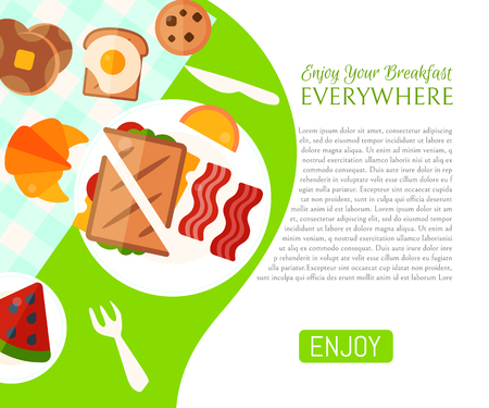 Breakfast picnic in the park poster vector illustration. Good mood. Breakfast on the nature. Meeting with friends, family holiday. Enjoy your breakfast everywhere. Sandwich, toast with fried egg.