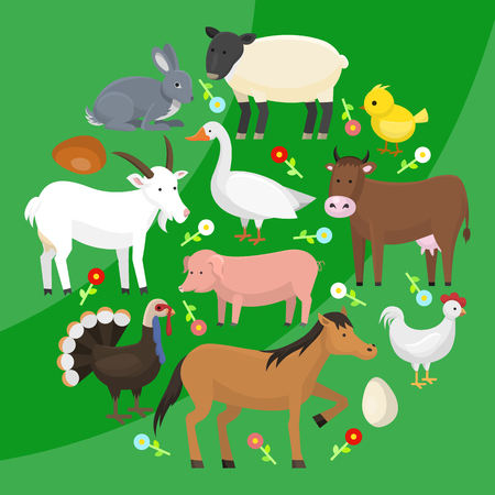 Set of farm domestic animals round pattern vector illustration. Collection of cute pet animal. Cartoon cow and horse, pig and goose, rabbit, hen, turkey, chick, goat, sheep. 일러스트
