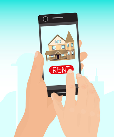 Rent home concept banner vector illustration. Real estate booking app on smartphone screen. Hand hold mobile phone, finger touches screen. Find apartments. Detached house icon.