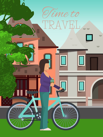 Woman travels riding bicycle poster vector illustration. Healthy lifestyle, outdoor activities. Time to travel concept. Female character girl with bottle of water and houses on background. Sporty person.