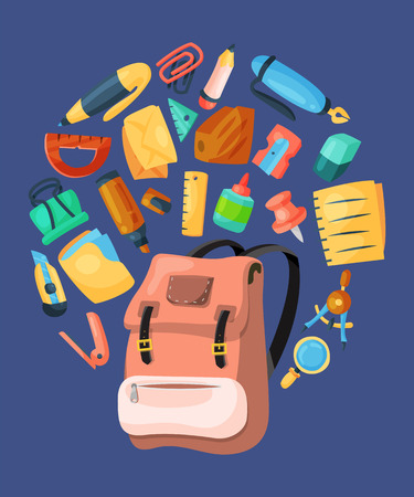 Backpack poster, banner. Kids school backpack with education equipment vector illustration. School supplies, colorful office accessories. Pen, pencil, envelope, stationary, eraser, ruler.