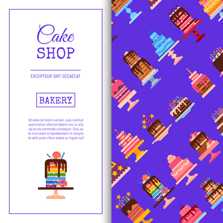 Cake shop seamless pattern vector illustration. Chocolate and fruity desserts for sweet cake shop with cupcakes, cakes, pudding, biscuits, whipped cream, glaze and sprinkles, candles. Delicious food.