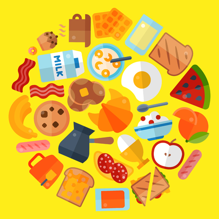 Breakfast round round pattern vector illustration. Morning food. Eating in the morning. Apple, banana, orange fruits, sandwich toast, boiled and fried eggs with bacon sausages, milk, waffles.