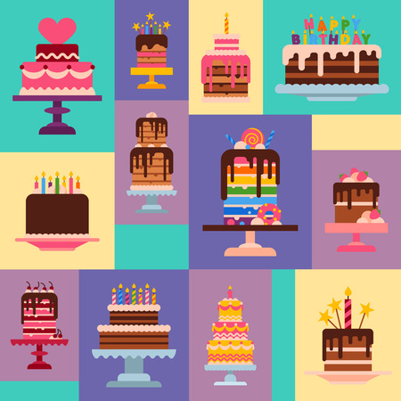 Cake shop pattern vector illustration. Chocolate and fruity desserts for sweet cake shop with cupcakes, cakes, pudding, biscuits, whipped cream, glaze and sprinkles, candles. Delicious food.
