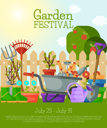Garden festival banner, poster vector illustration. Tools for gardening such as wheelbarrow, trowel, fork hoe, boots, gloves, shovels and spades lawn mower watering can leaf rakes.