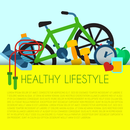 Healthy lifestyle concept banner vector illustration. Poster with sports equipment and healthy food. Diet and sport. Idea of everyday activities such as fitness, cycling, running, jumping.