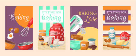 Baking time set of banners. Kitchen utensils. Bowl, mixer. Baking ingredients set sugar, vanilla stick, flour, oil, butter, baking soda, baking powder honey eggs Cooking vector illustration Illustration