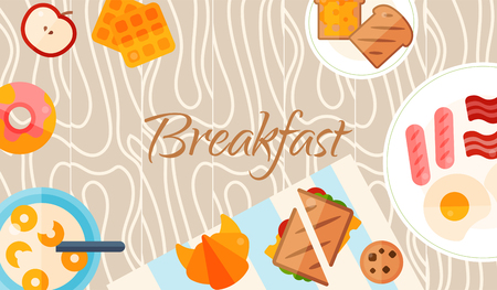 Breakfast brunch banner concept vector illustration. Healthy start day. Eating in the morning. Food collection with apple, sandwich toast, croissant, donut cereal and fried eggs with bacon sausages.