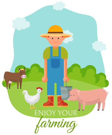 Farmer standing on green lown with farm animals banner, poster vector illustration. Smiling man in overalls and hat with bucket feeding pig, hen sand cow. Enjoy your farming. Healthy lifestyle.