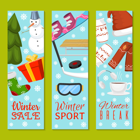 Winter sale, break set of banners vector illustration. Nature landscape with Christmas tree, snowmen, sledge, snowboard, hat scarf earmuffsear socks mittens. Happy New Year. Snowy weather. Ilustração