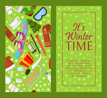 It s winter time banner vector illustration. Nature landscape with Christmas tree, snowmen sledge, snowboard hat scarf earmuffsear. Happy New Year greetings. Winter holidays and weekends. Ilustração