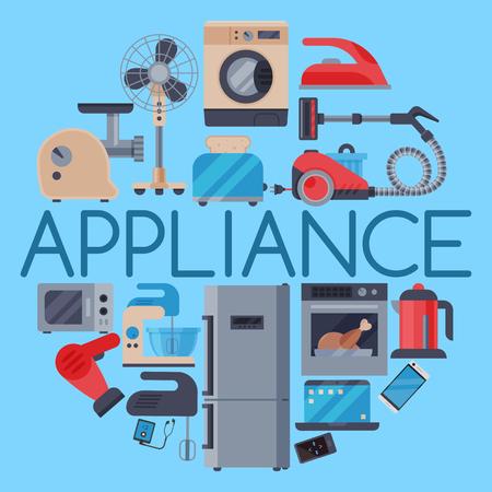 Home appliances round pattern vector illustration. Set of household kitchen technics Microwave oven, dishwasher vacuum cleaner refrigerator washing machine, kettle, grinder, toaster, iron. 向量圖像