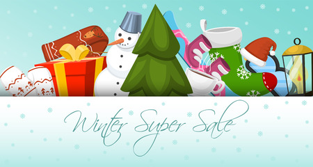 Winter super sale banner vector illustration. Nature landscape with Christmas tree, snowmen, sledge, snowboard hat scarf earmuffsear. Happy New Year. Snowy weather. Winter holidays and weekends.