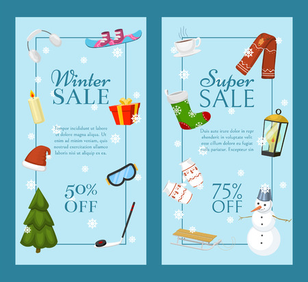 Winter super sale banners vector illustration. Nature landscape with Christmas tree, snowmen, sledge snowboard, hat scarf earmuffsear. Happy New Year. Snowy weather. Winter holidays and weekends. Ilustração